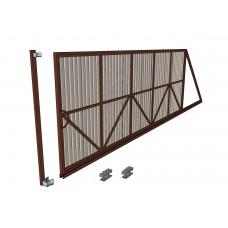 Откатные ворота Ширина 4 м. Высота 2 м. Комплект в сборе. Обшивка профнастилом с 1-стороны.